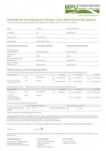 Anmeldeformular für die MPU Vorbereitung